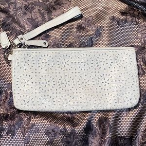 Coach white perforated clutch